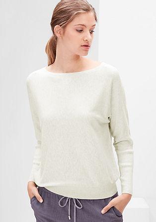 Pleten pulover z netopirskimi rokavi