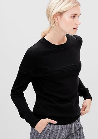 Pleten pulover z oplečkom