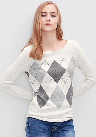 Pleten pulover z rombastim vzorcem
