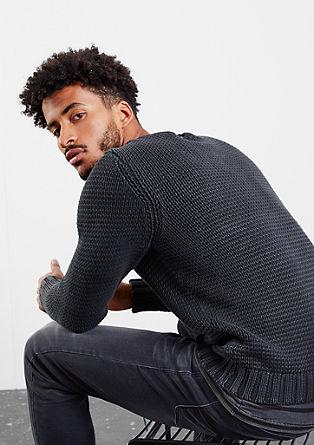 Pleten pulover z učinkom barvanega pranja