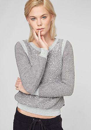 Pleten pulover z učinkom lesketanja