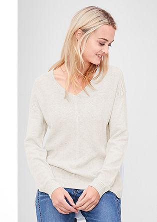 Pleten pulover z V-izrezom