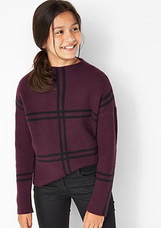 Pleten pulover z velikim karirastim vzorcem