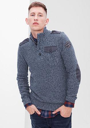 Pleten pulover z vojaškimi detajli