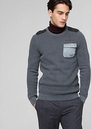 Pleten pulover z zaplatami na komolcih