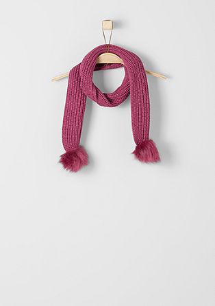 Pleten šal z umetnim krznom