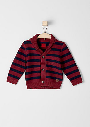 Pletena jakna s črtami in ovratnikom
