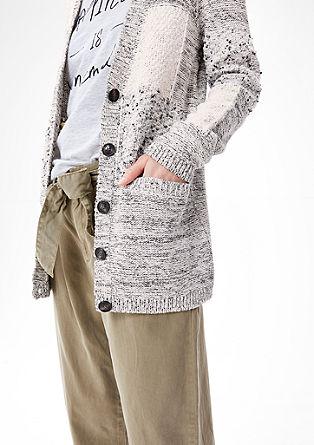 Pletena jopica v patchwork dizajnu