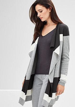 Pletený kabátek s širokými pruhy