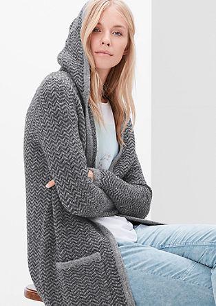 Pletený kabátek sklikatým vzorem