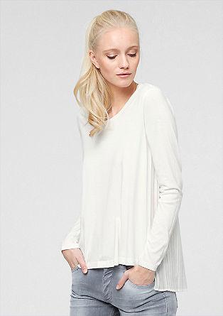 Plisirana majica z dolgimi rokavi