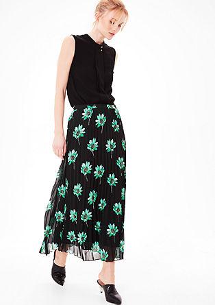plisovaná sukně s květinovým potiskem