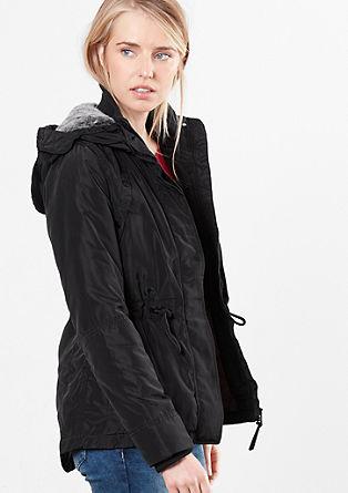 Podložena jakna s kapuco iz umetnega krzna