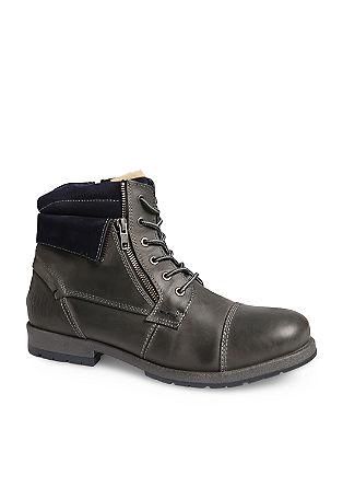 Podloženi nizki škornji iz mešanice materialov