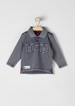Polo-Langarmshirt mit Wascheffekt