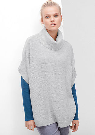 Polo neck poncho in a textured knit from s.Oliver