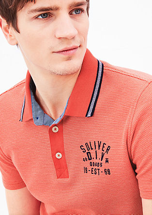 Polo shirt with a woven pattern from s.Oliver
