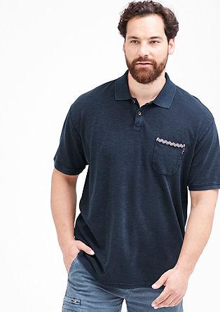 Poloshirt met borduursel en structuur all-over
