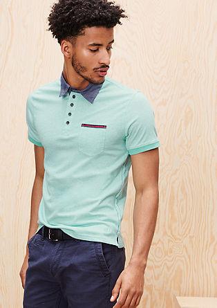 Poloshirt mit Chambray-Kragen