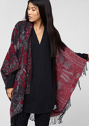 Poncho mit floralem Muster