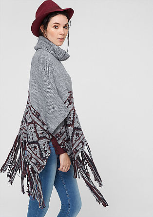 Poncho mit Ikat-Muster