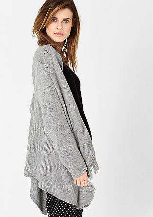 Poncho-style fringed cardigan from s.Oliver