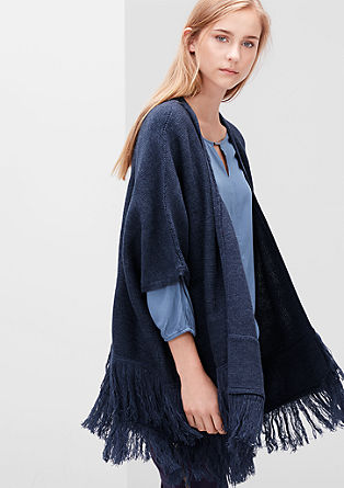 Poncho with fine fringing from s.Oliver