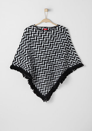 Poncho with fringed border from s.Oliver