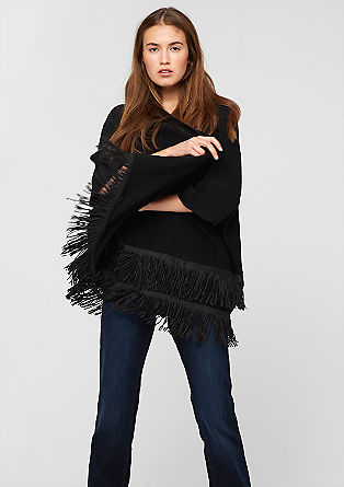 Poncho with fringed flounces from s.Oliver