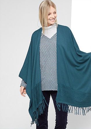 Pončo iz finega pletenja z vezenino