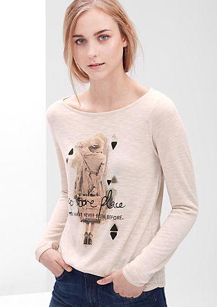 Potiskana majica v videzu tanke pletenine