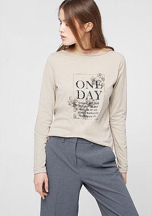 Potiskana majica z dolgimi rokavi s kovicami
