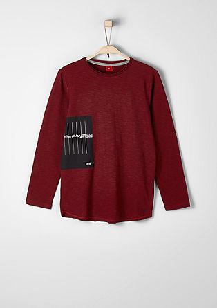 Potiskana melirana majica z dolgimi rokavi
