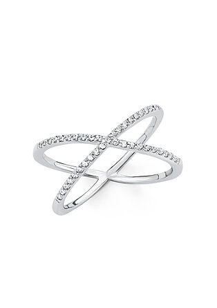 Prekrižan srebrni prstan s cirkoni