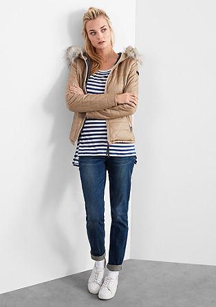 Prešita jakna v videzu usnja