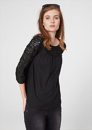 Pretty blouse with a lace yoke from s.Oliver