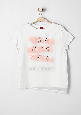 Print-Shirt mit Chiffon-Blende