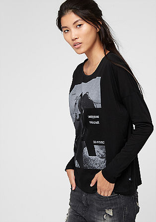 Print-Shirt mit Leder-Look-Detail