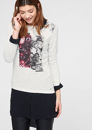 Print-Shirt mit Spitze