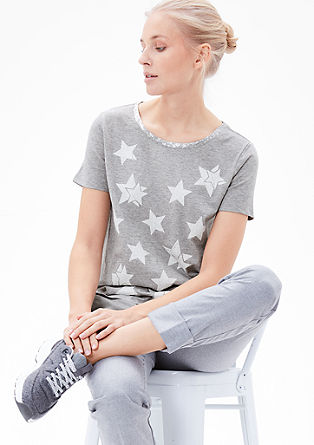 Print T-shirt with glitter collar from s.Oliver