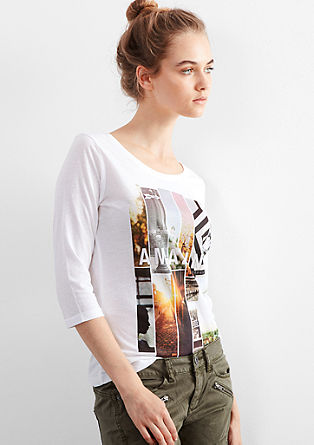 Print top with 3/4-length sleeves from s.Oliver