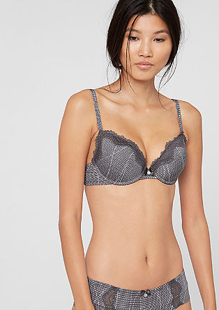 Printed push-up bra with lace from s.Oliver