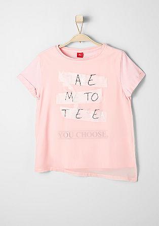 Printed shirt met chiffon rand