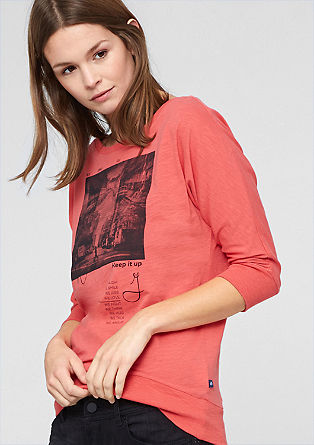 Printed top with batwing sleeves from s.Oliver