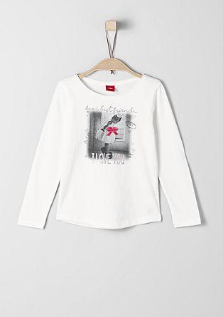 Printshirt met fluwelen strik