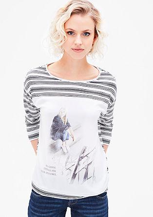 Printshirt mit Bluseneinsatz