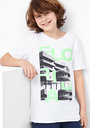 Printshirt mit offener Saumkante