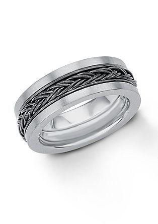 Prstan iz legiranega jekla s prepletenim detajlom