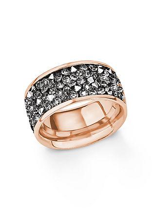 Prstan s Swarovski kristali iz ionskim premazom iz rožnatega zlata