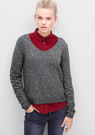 Puhasto mehek pleten pulover z V-izrezom